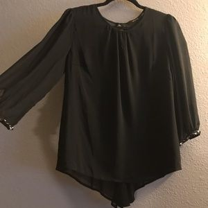 Sheer Black with Rhinestones at Wrists Blouse